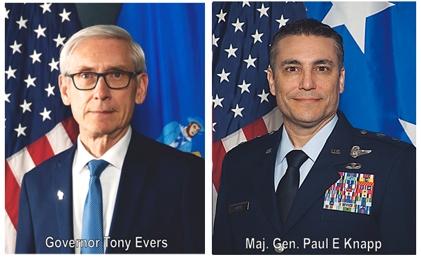 Photo of Gov. Evers and Major Gen. Dunbar